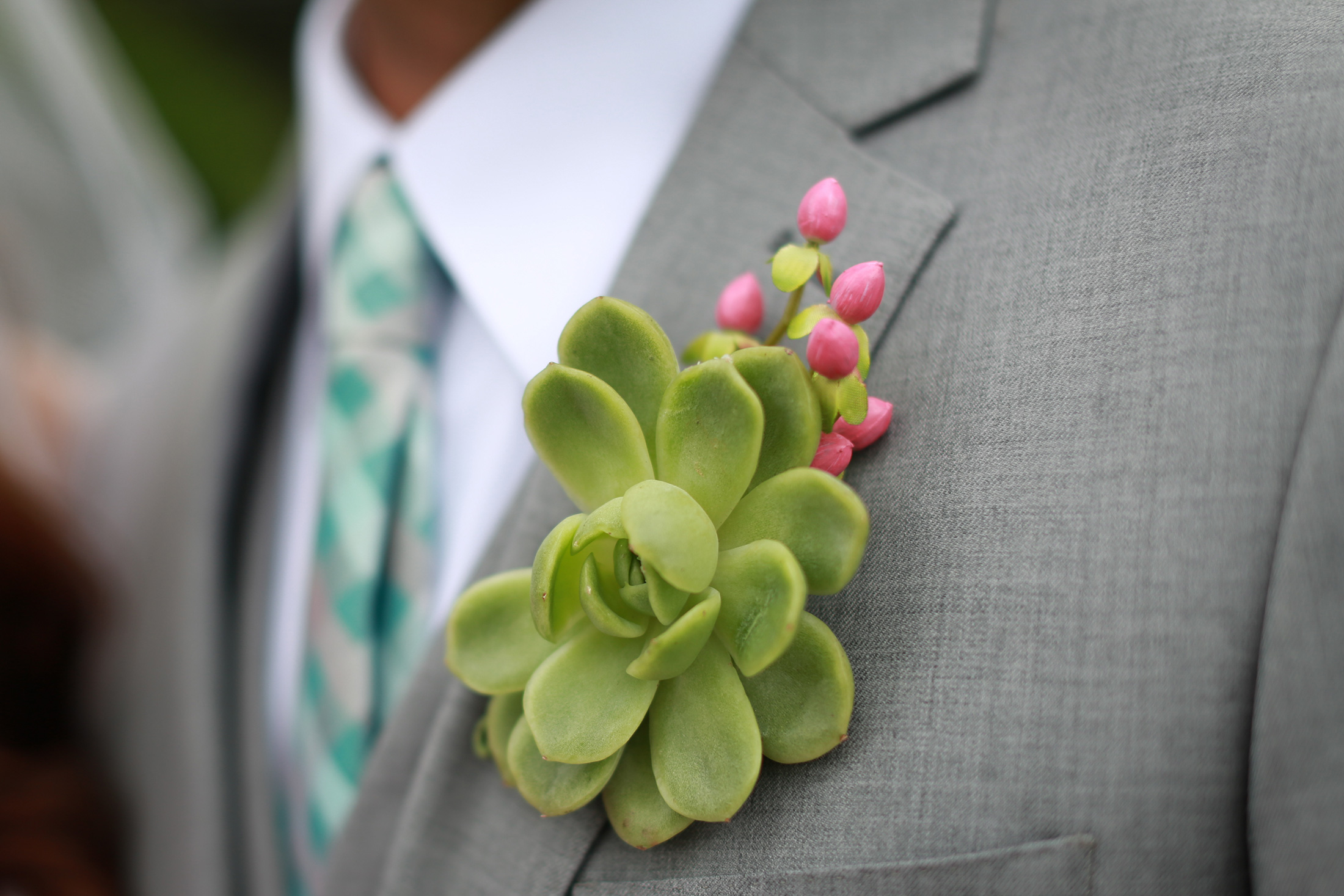 SEG_Green Succulent Boutonniere on Groom wearing gray suit