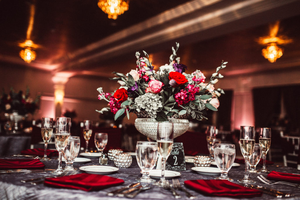 February wedding decor with red flowers