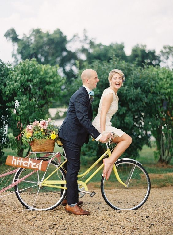 wedding getaway car bicycle