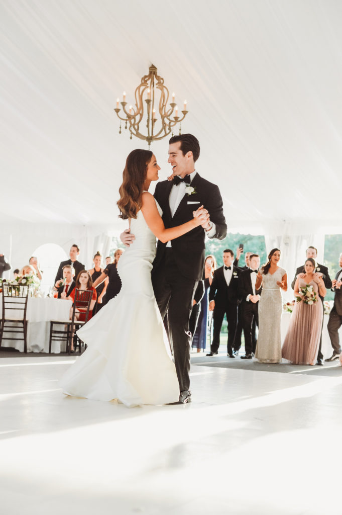 Bride and groom first dance at the tent