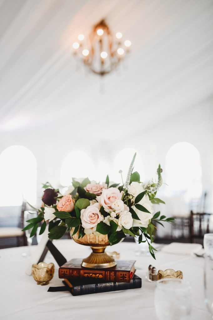 Book and floral centerpiece