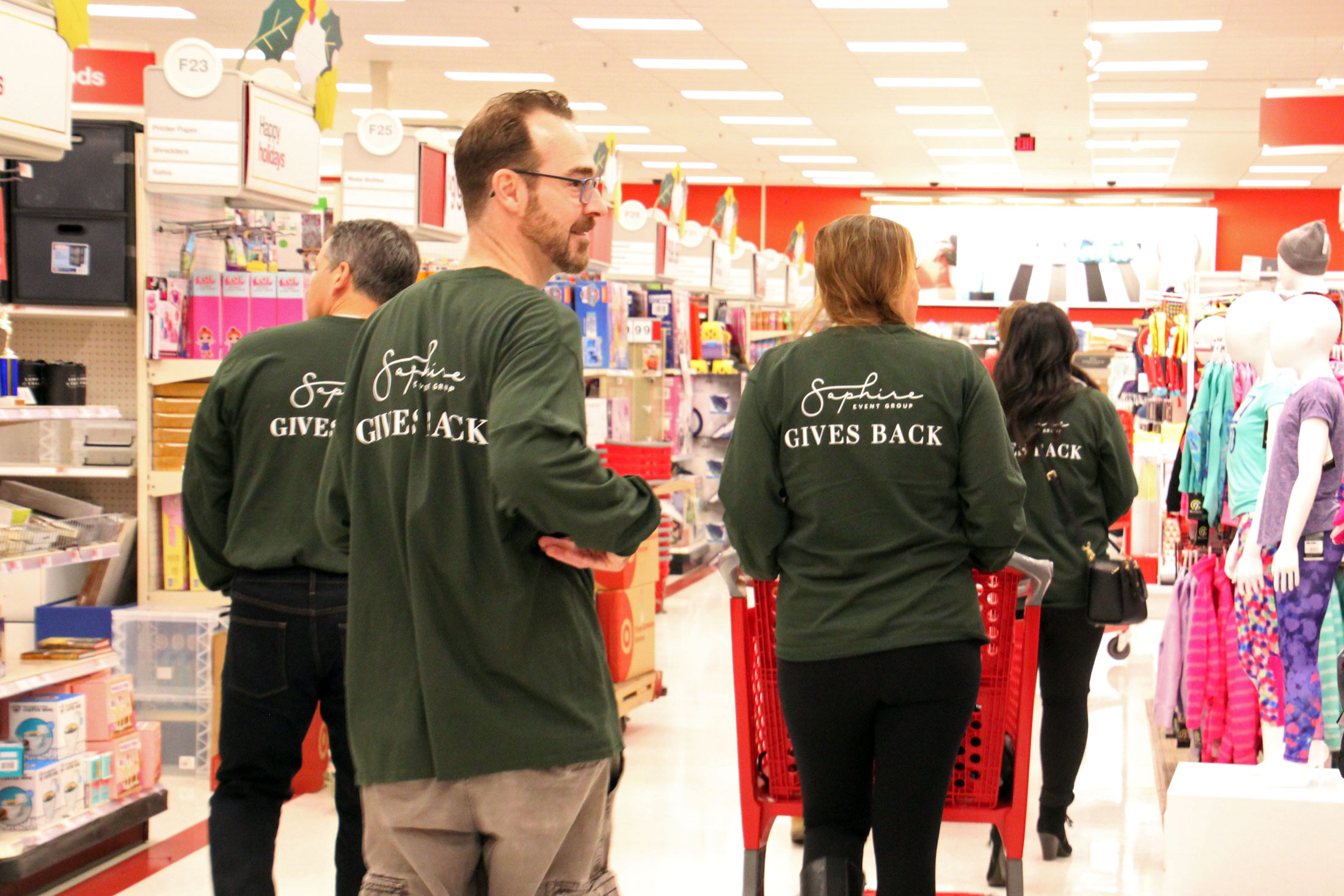 SEG staff searches the aisles at Target for holiday gifts
