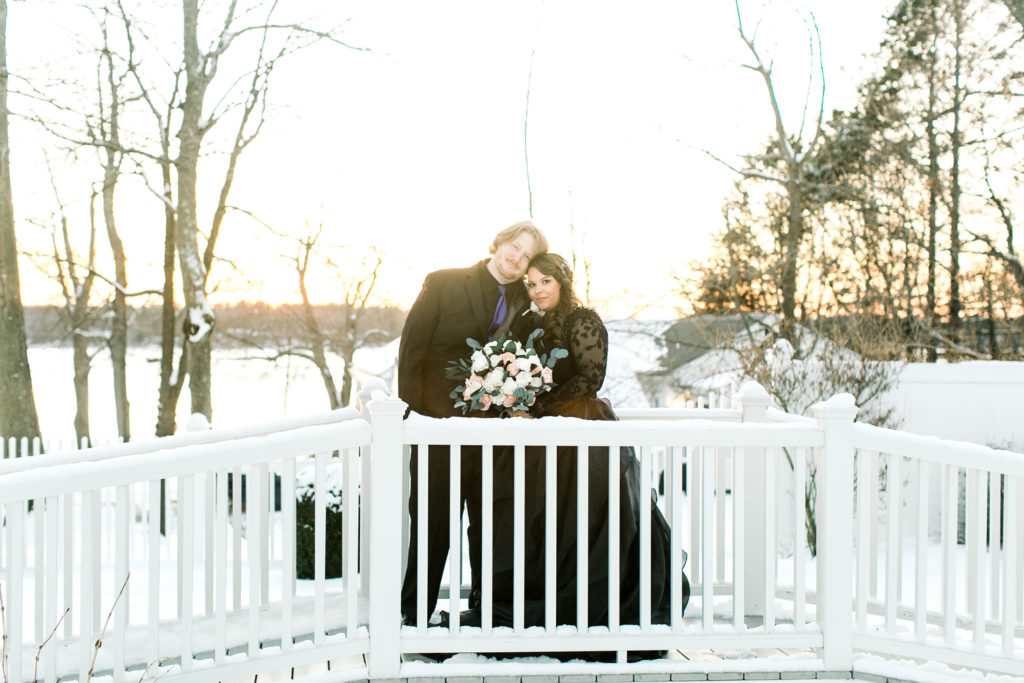 bride and groom sunset bridge