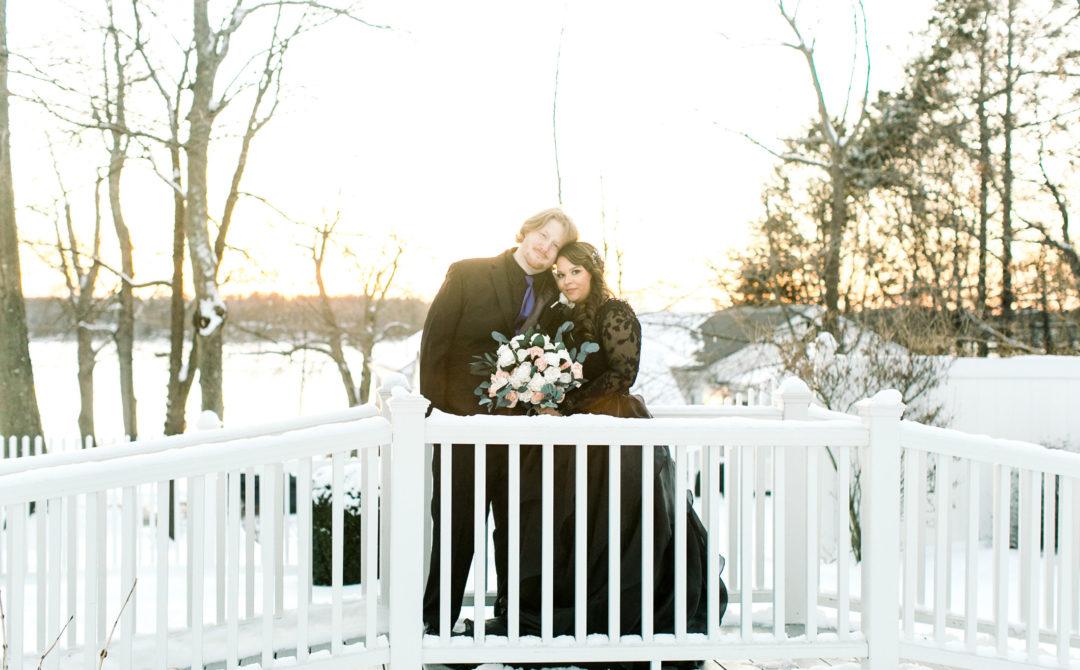 bride and groom sunset bridge