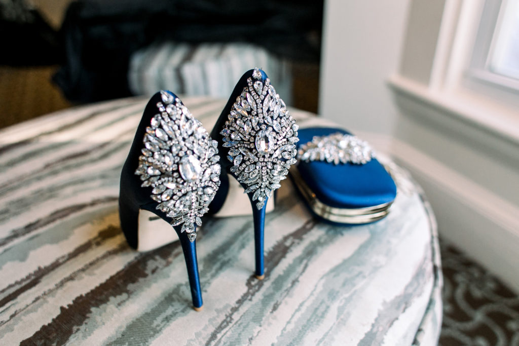 bride's shoes and purse