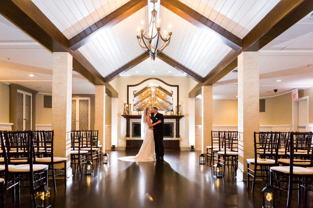 bride and groom portrait in ceremony space