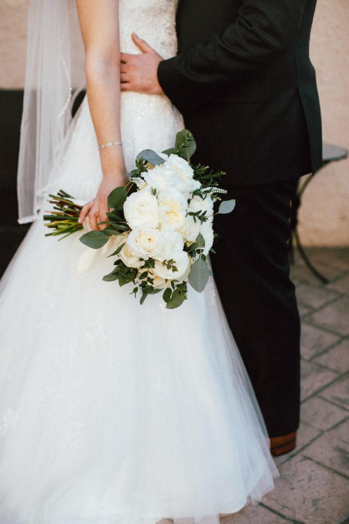 close up shot of bridal bouquet