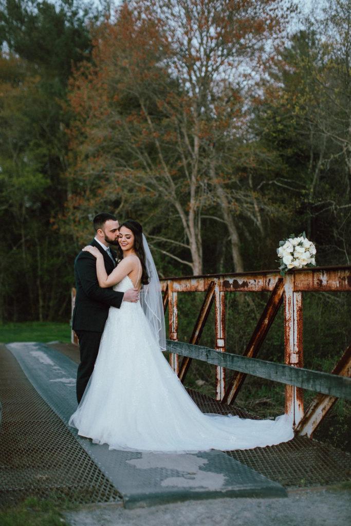 bride and groom at bridge