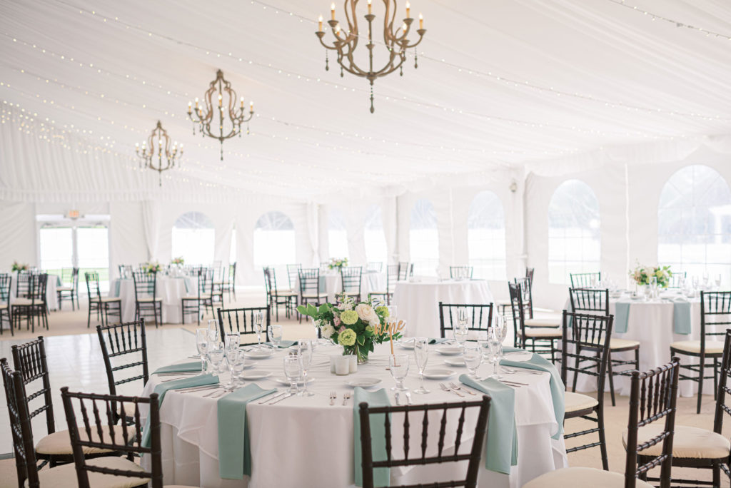 Tented wedding at The Villa wedding venue in East Bridgewater MA