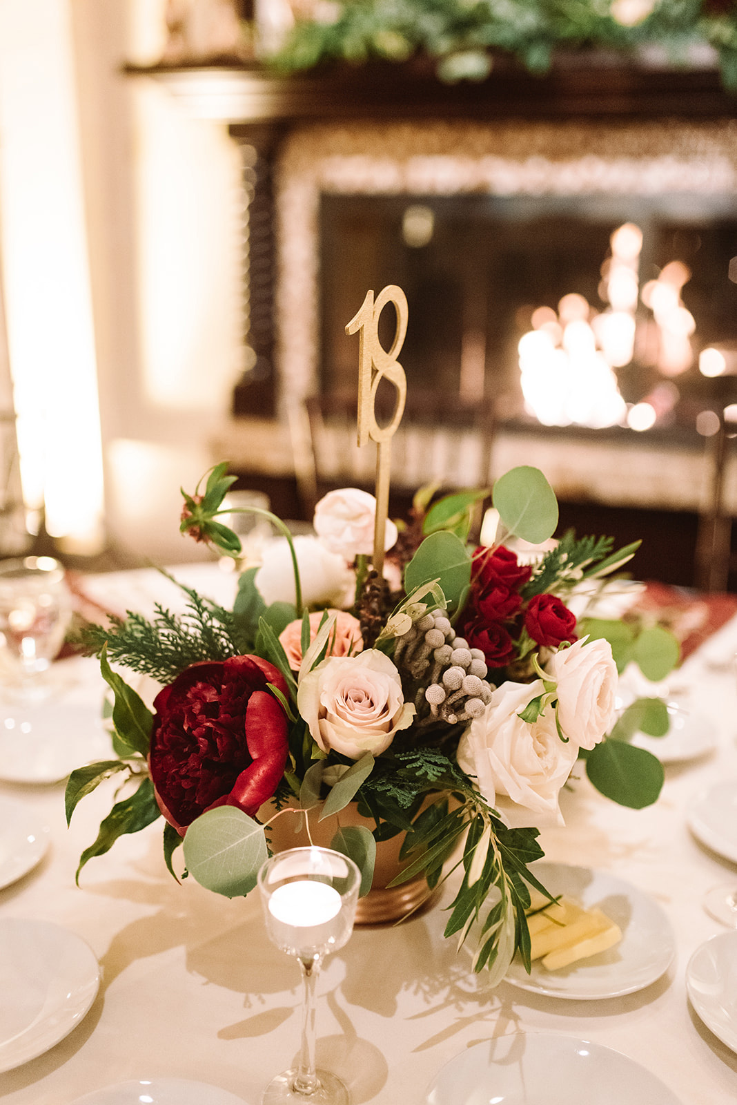 Holiday centerpiece floral display