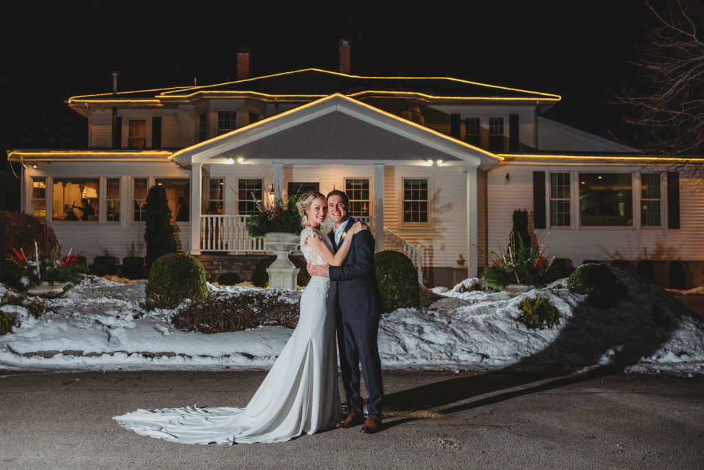 Nighttime winter wedding photo