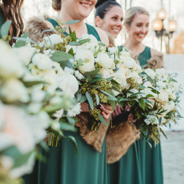 winter wedding bridesmaid bouquets