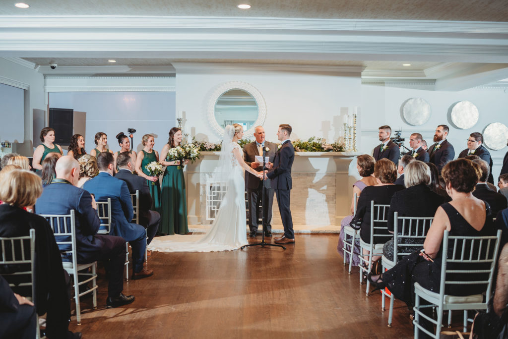 Indoor winter wedding ceremony