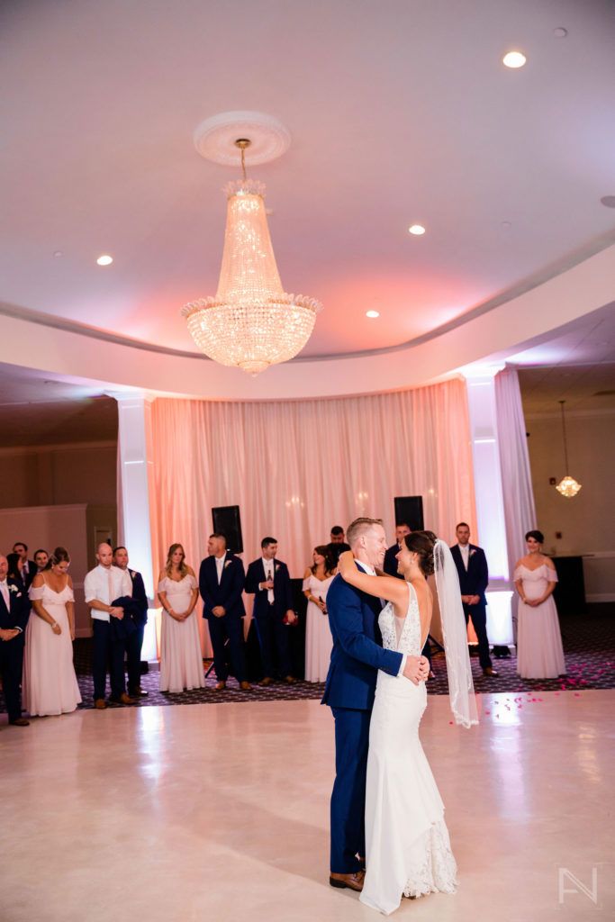 bride and groom first dance portrait