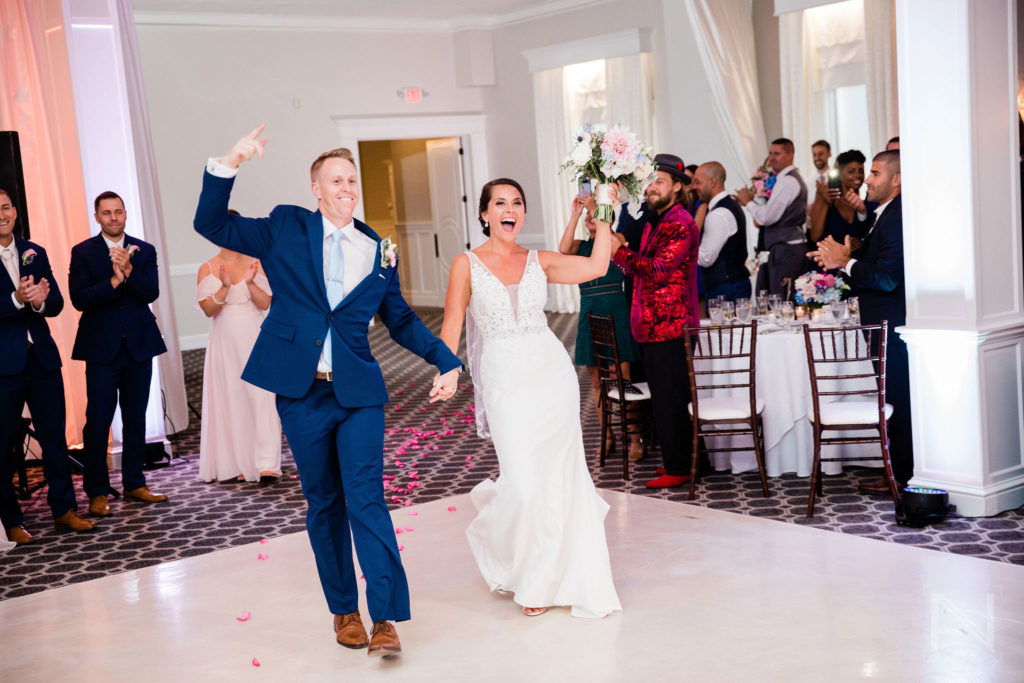 bride and groom room introductions