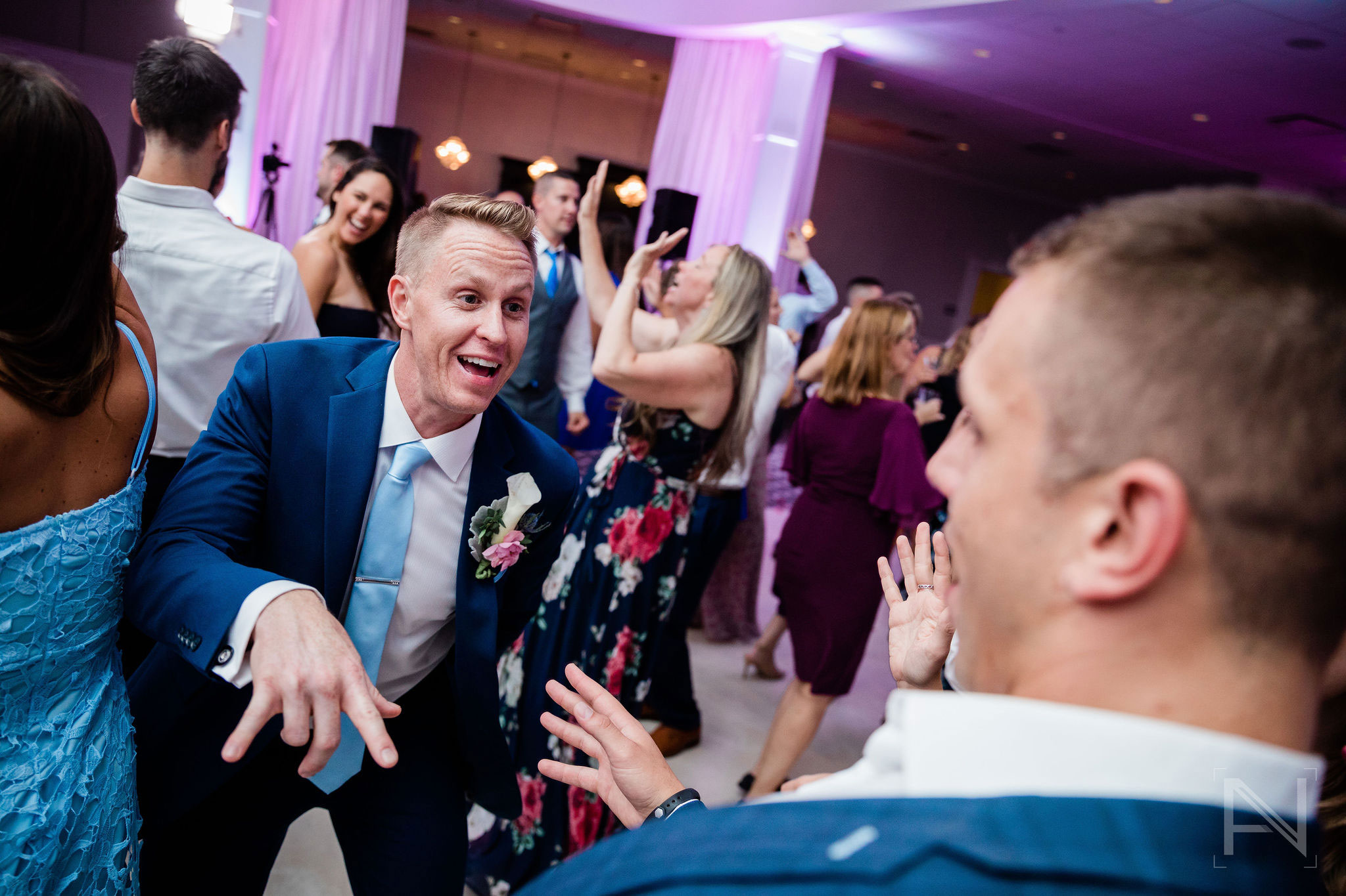 dance party at a weekday wedding