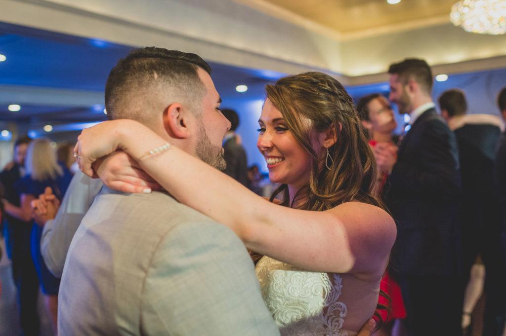 bride & groom slow dancing