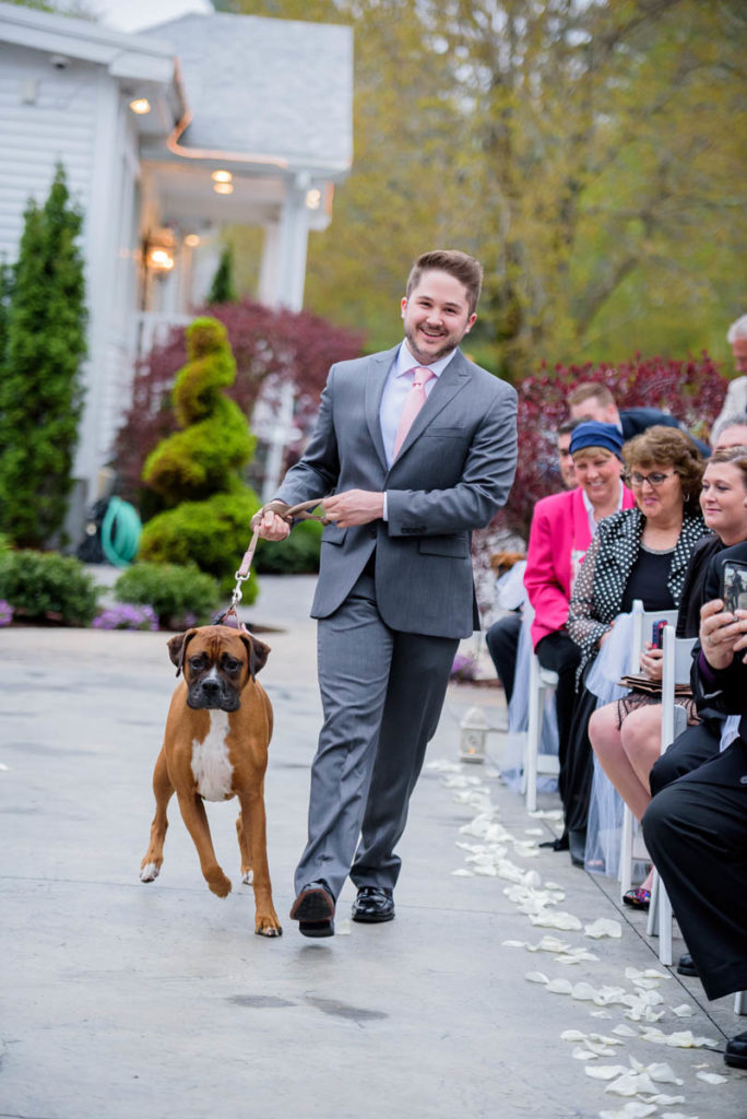 man walks dog down the aisle
