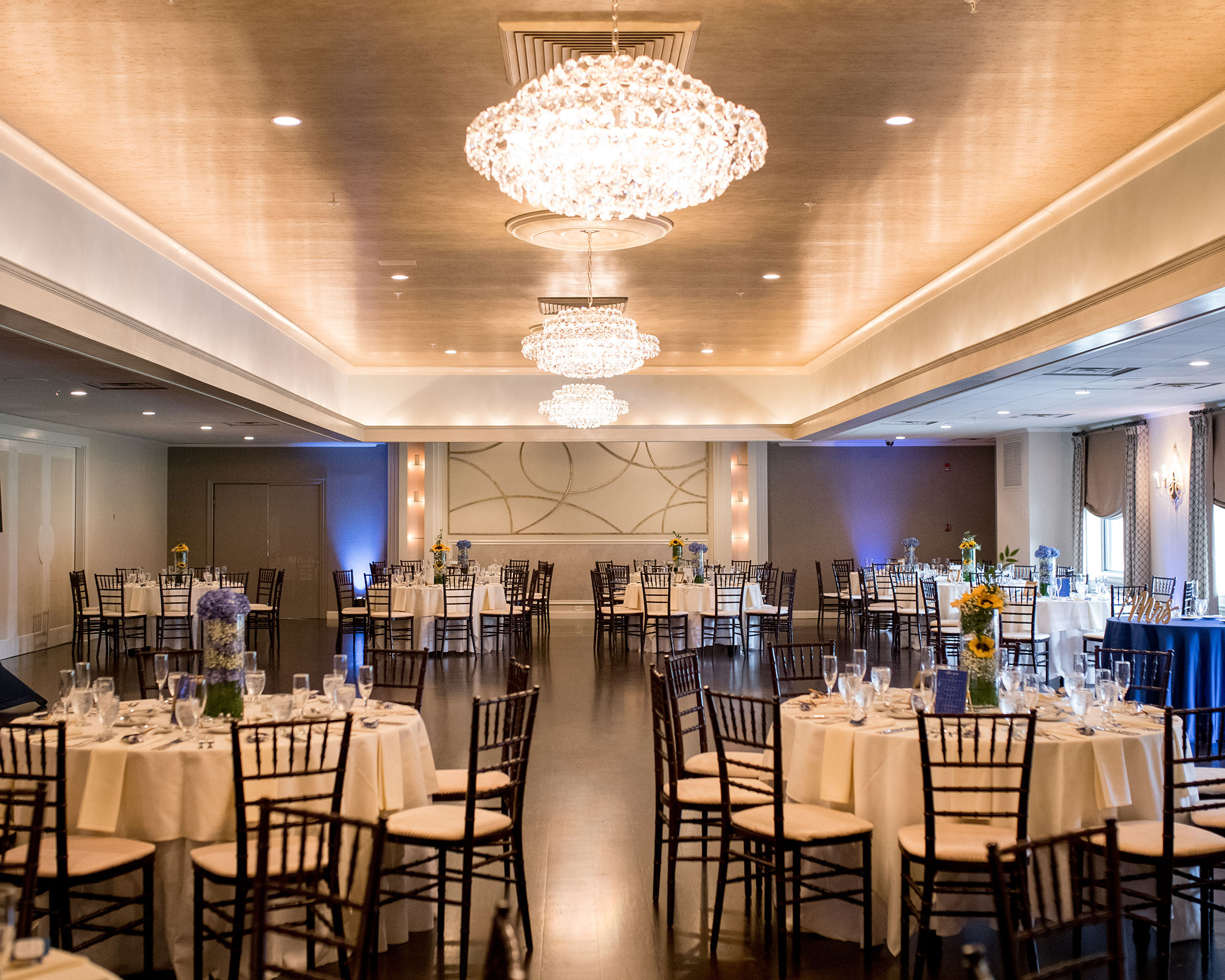 Glam classic blue wedding reception