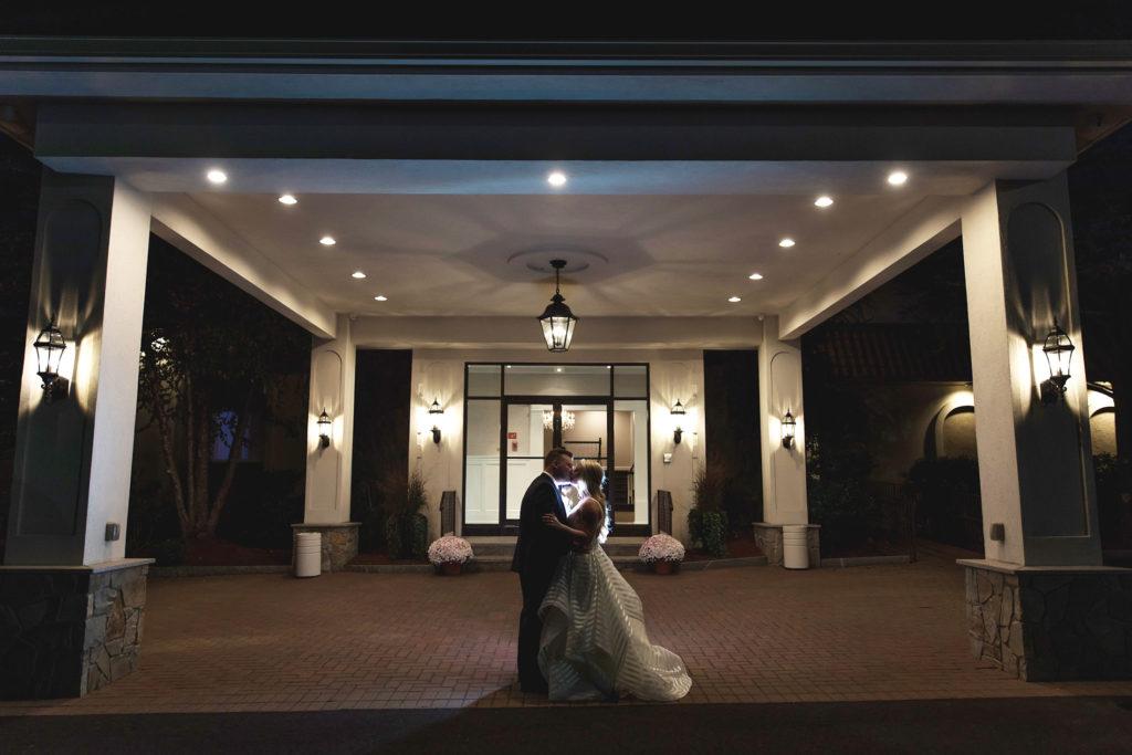 bride and groom evening portrait