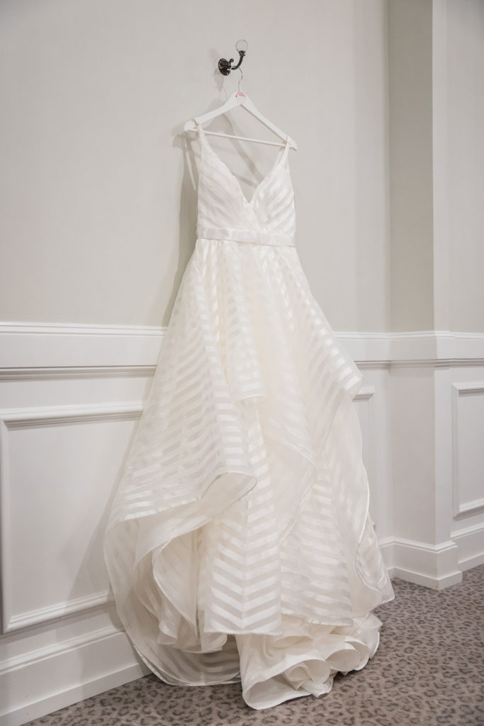 dress hanging in the bridal suite