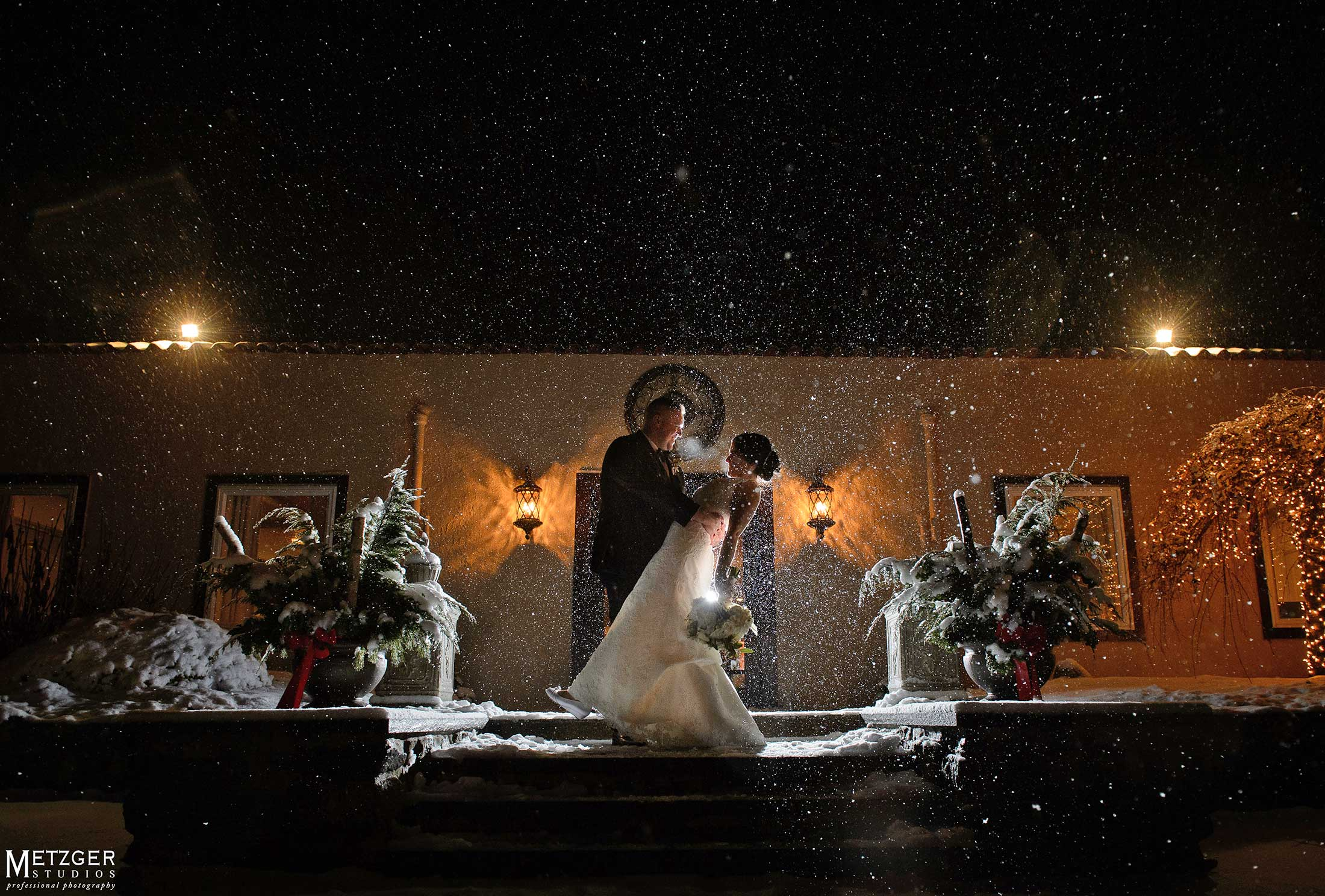 Snowy Massachusetts winter wedding photo