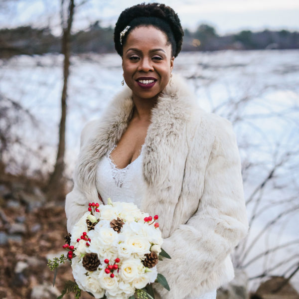 winter bride in fur coat