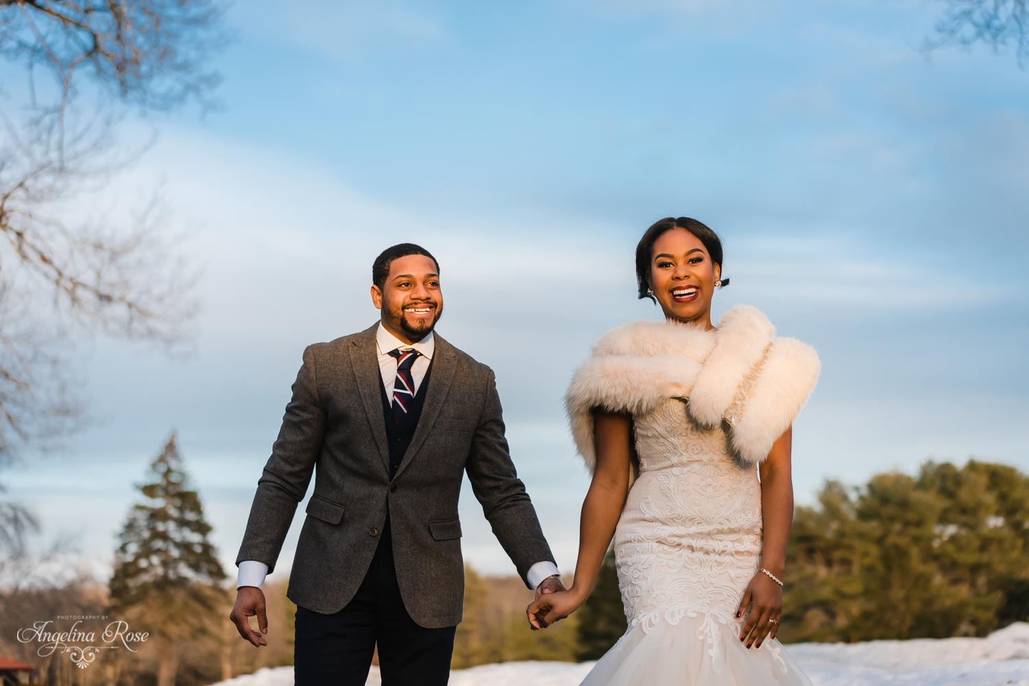 Stylish winter bride and groom attire