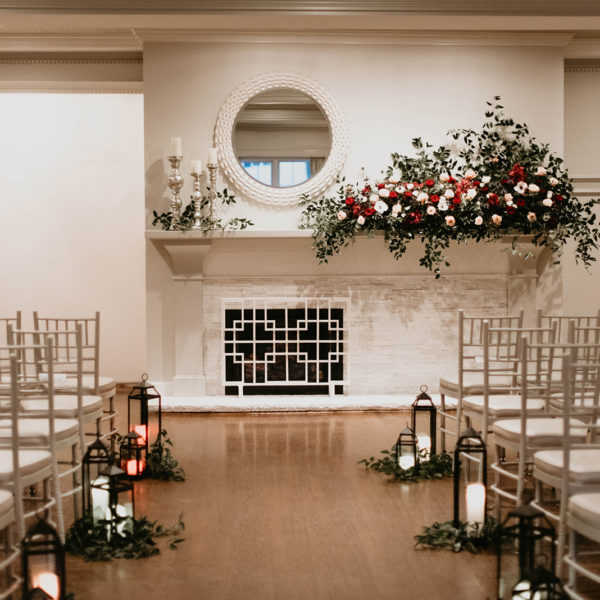 Cozy wedding ceremony setup