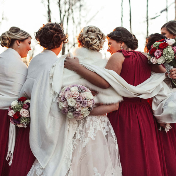 winter bridesmaids photos