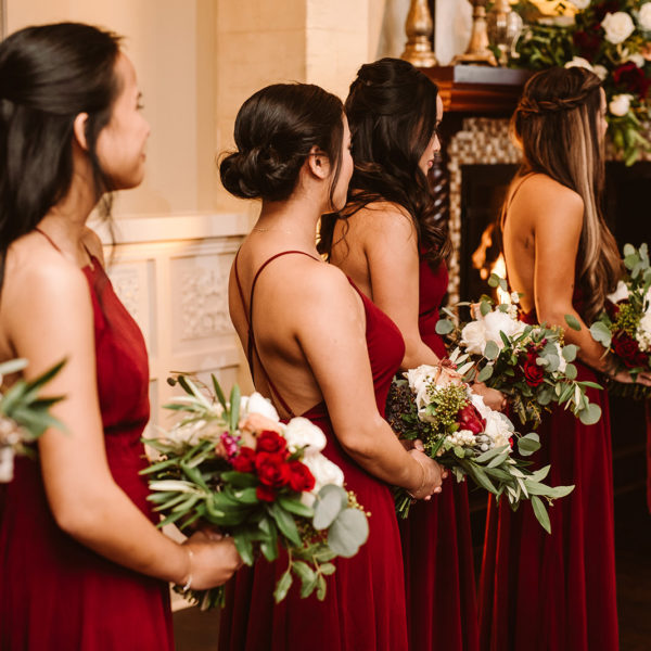 red winter bridesmaids dresses