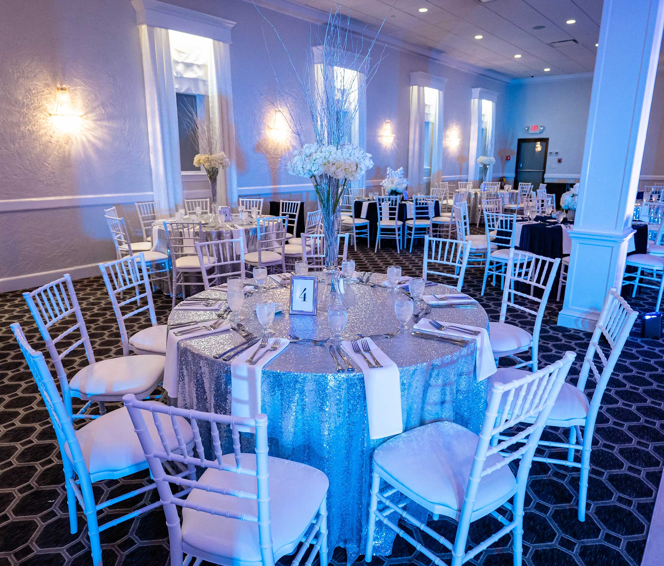Blue and silver winter wedding reception