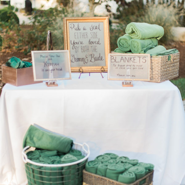 blankets as wedding favor for winter wedding