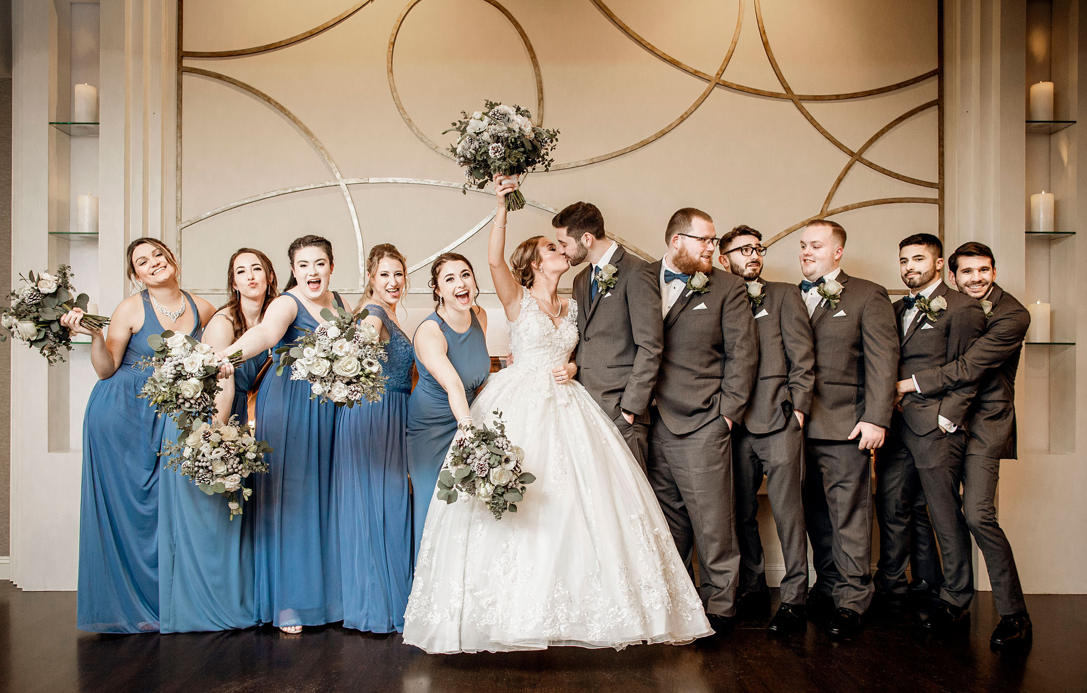 Indoor wedding party portraits