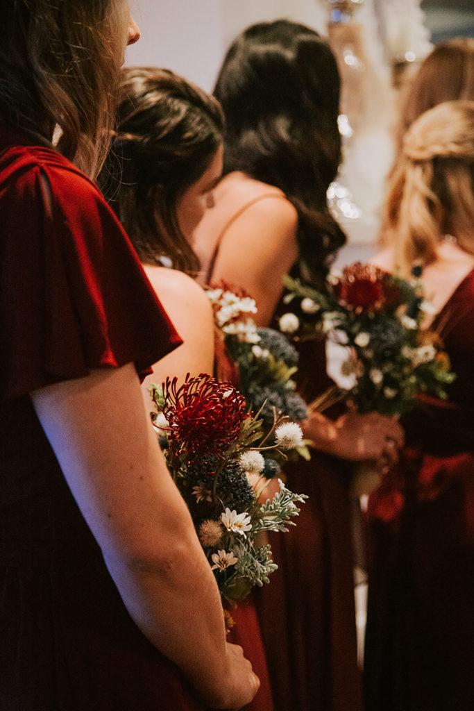 bridesmaid during ceremony