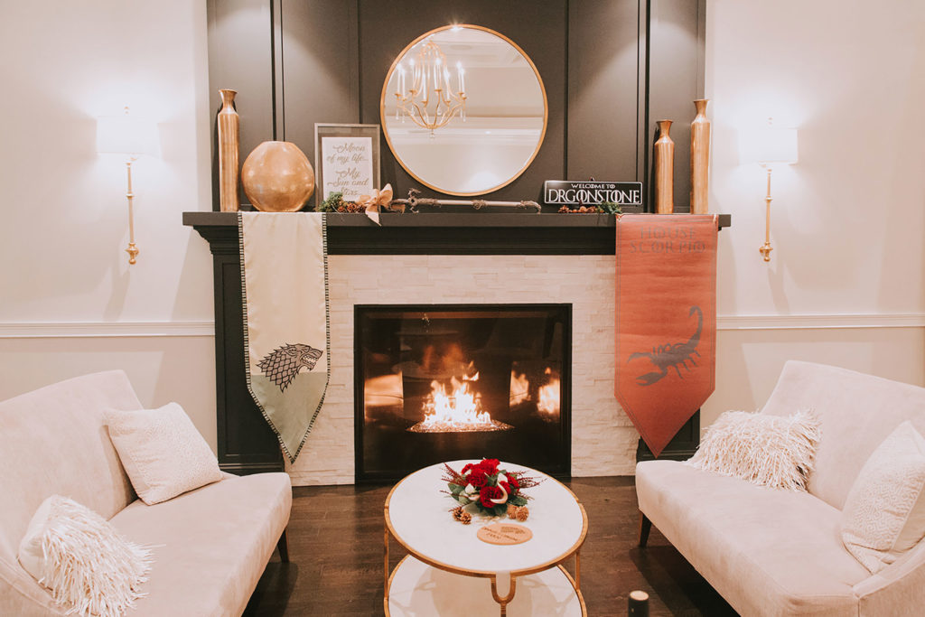 cocktail space fireplace decor
