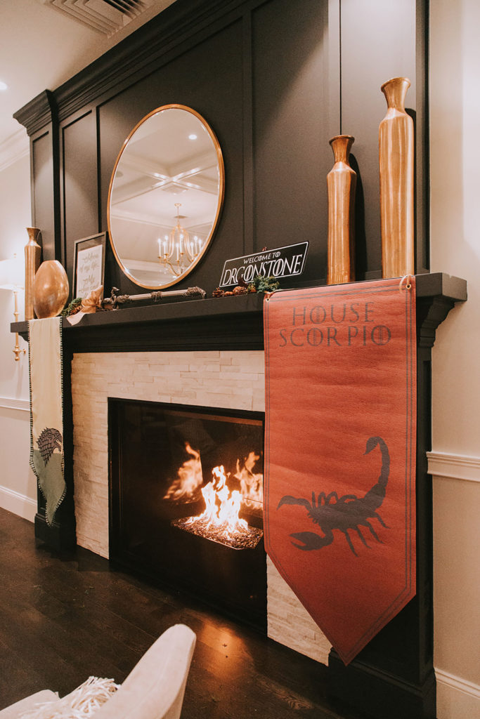 cocktail space fireplace