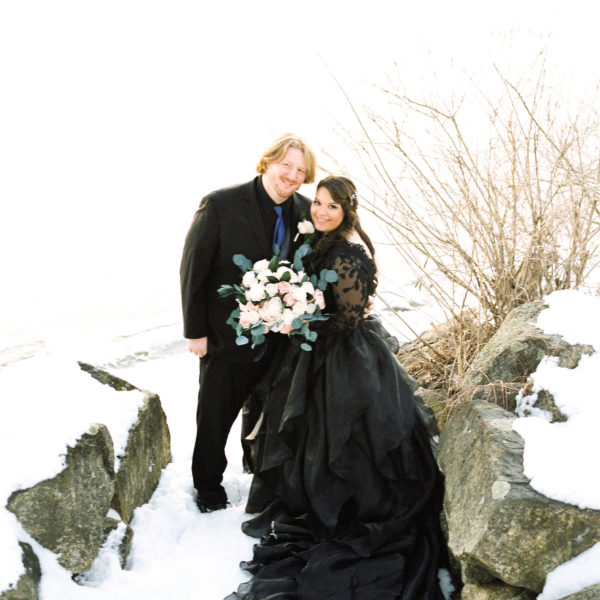 Winter beach wedding photo in MA