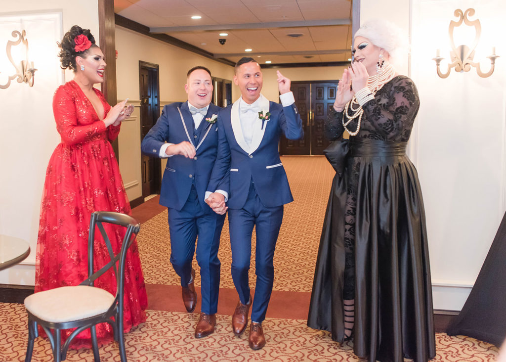 The Villa Madera August wedding Chris and Jason drag queen introduction