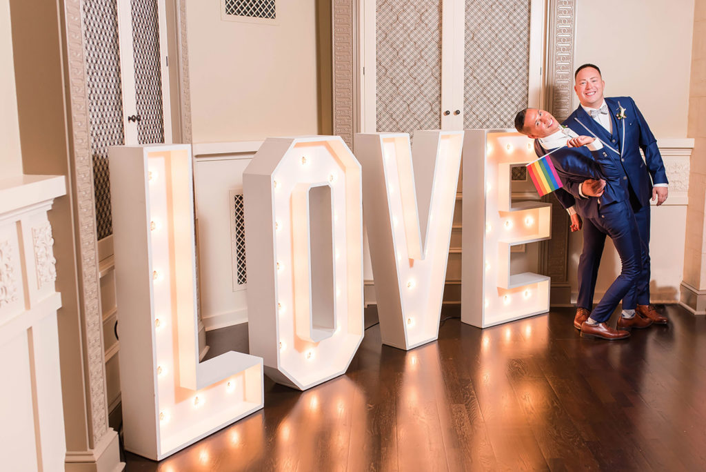 The Villa Madera August wedding Chris and Jason your love in lights