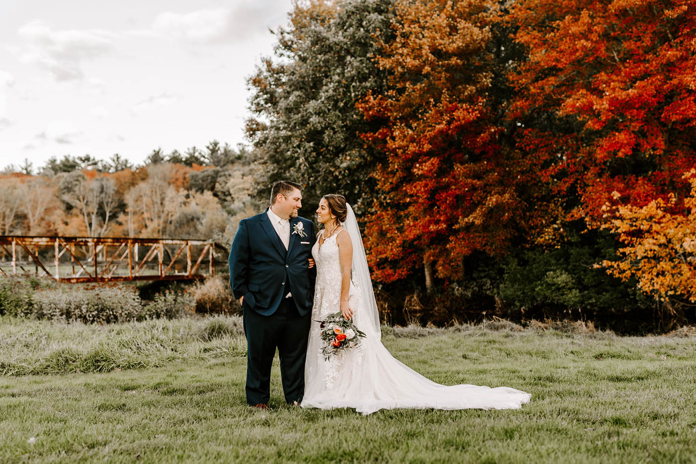 beautiful fall wedding photo New England