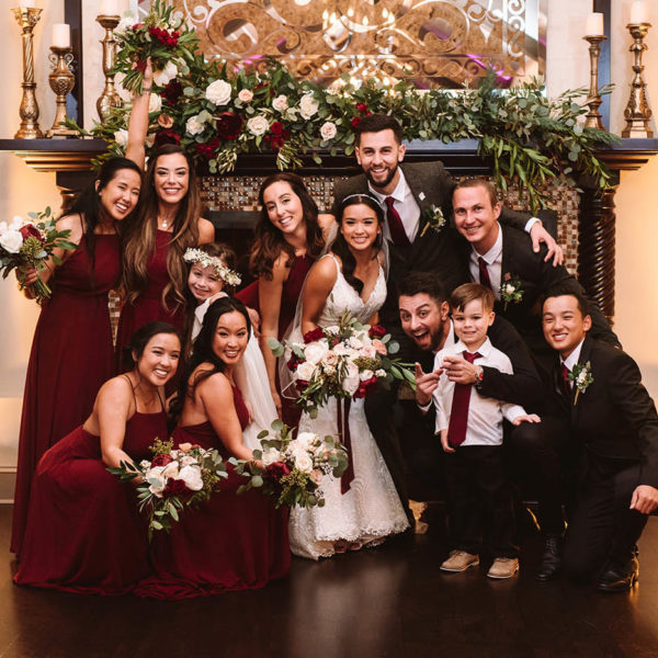 bridal party in burgundy dresses