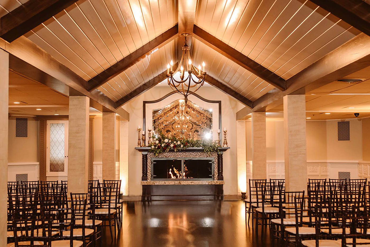 Dramatic indoor wedding ceremony venue