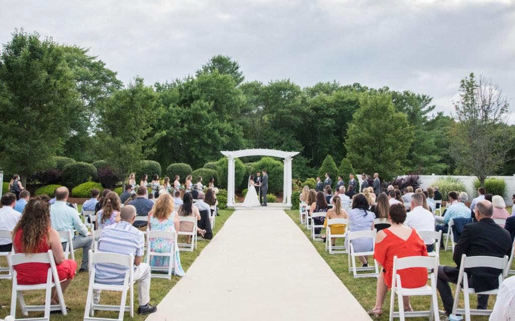 socially distanced wedding ceremony setup