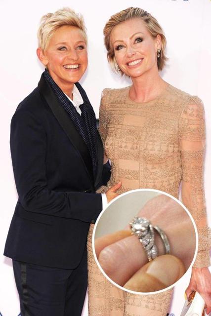 Hollywood's Best Celebrity Engagement Rings Portia De Rossi & Ellen Degeneres.jpg