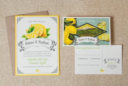 Vintage Lemon Wedding Invitation