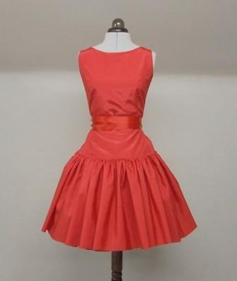 Makemeadress: Red Silk Full Skirt Cocktail Dress